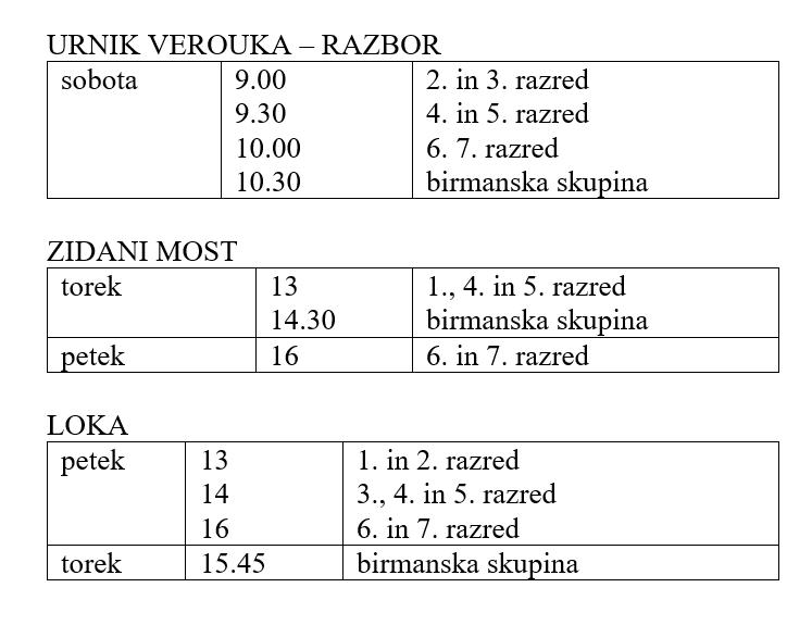 Urnik Verouka